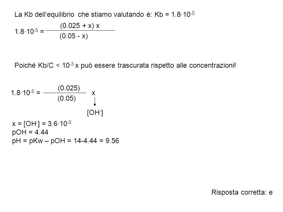La Kb dell'equilibrio che stiamo valutando è: Kb = 1.8·10-5