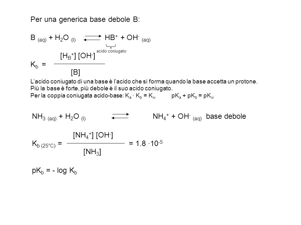 Per una generica base debole B: B (aq) + H2O (l) HB+ + OH- (aq)