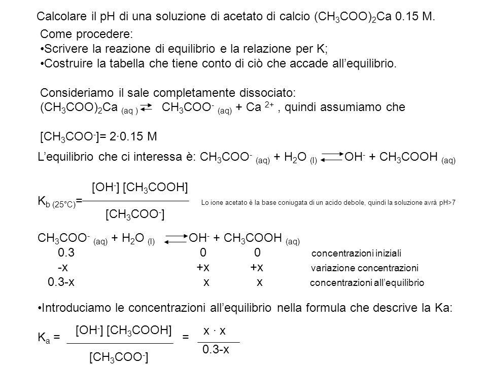 Calcolare il pH di una soluzione di acetato di calcio (CH3COO)2Ca 0