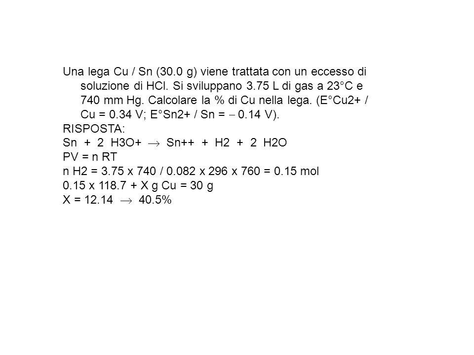 Una lega Cu / Sn (30.0 g) viene trattata con un eccesso di soluzione di HCl. Si sviluppano 3.75 L di gas a 23°C e 740 mm Hg. Calcolare la % di Cu nella lega. (E°Cu2+ / Cu = 0.34 V; E°Sn2+ / Sn =  0.14 V).