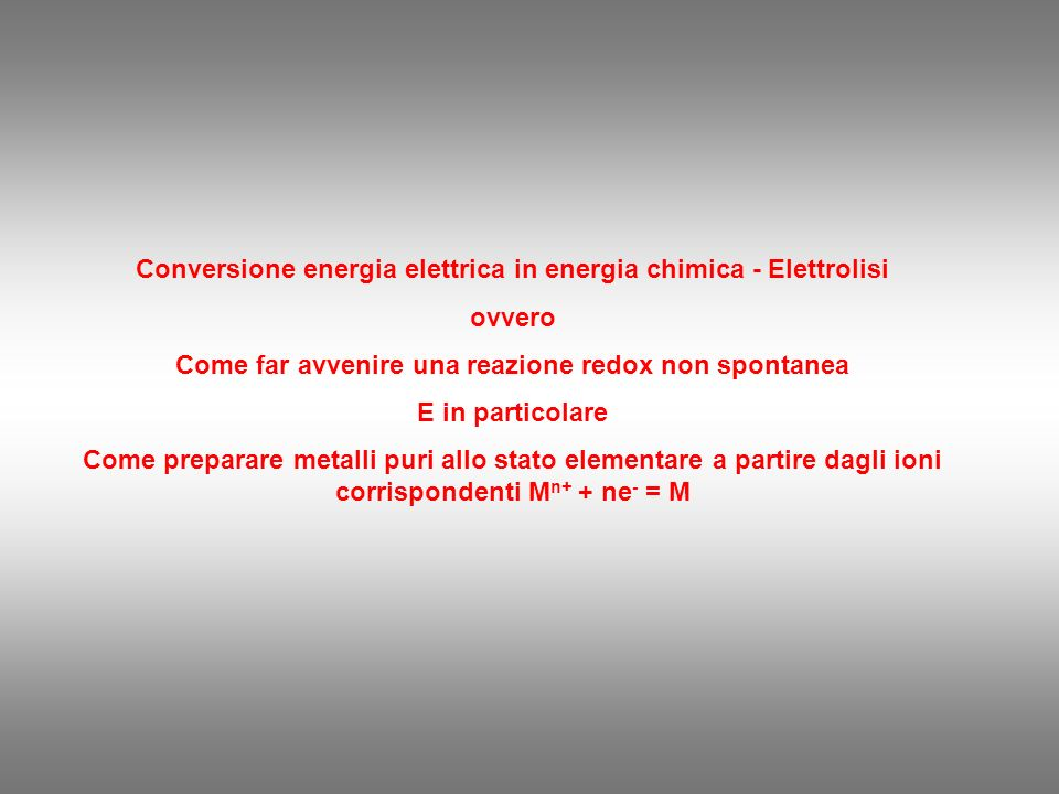 Conversione energia elettrica in energia chimica - Elettrolisi ovvero