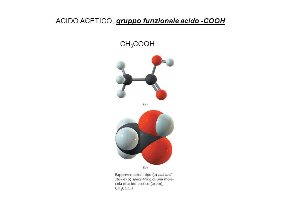 CH3COOH ACIDO ACETICO, gruppo funzionale acido -COOH