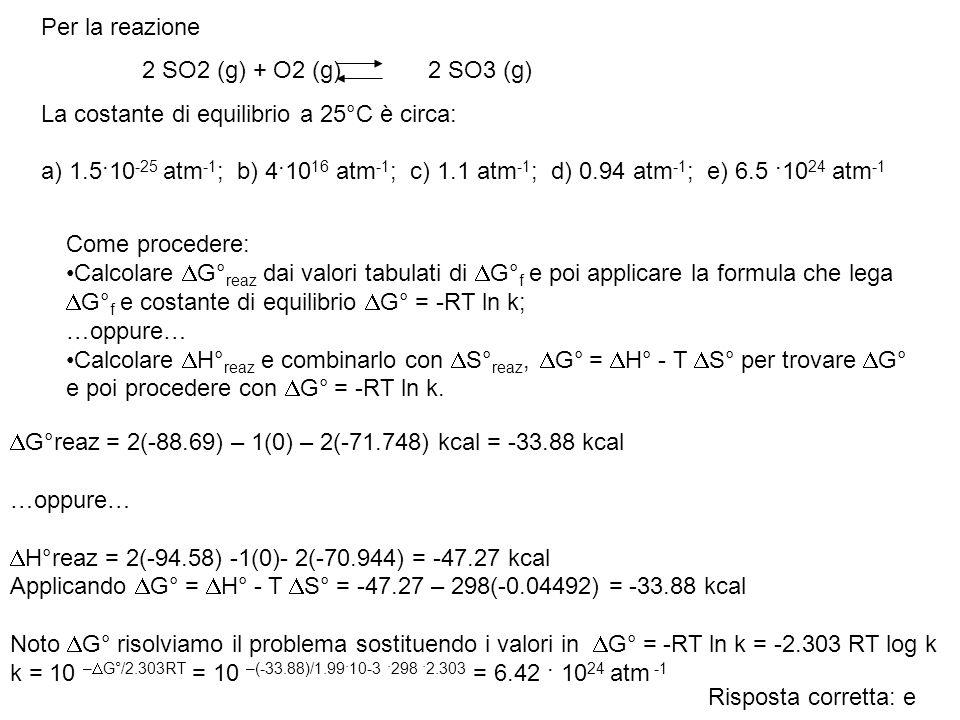 Per la reazione La costante di equilibrio a 25°C è circa: a) 1.5·10-25 atm-1; b) 4·1016 atm-1; c) 1.1 atm-1; d) 0.94 atm-1; e) 6.5 ·1024 atm-1.