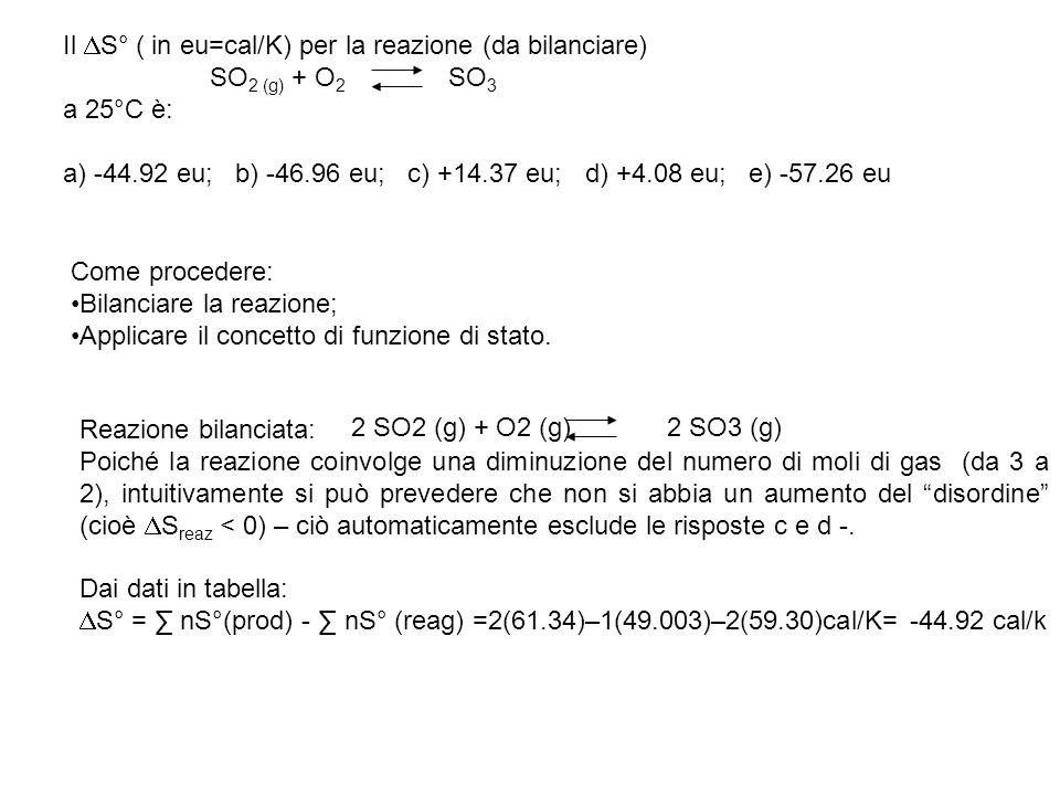 Il DS° ( in eu=cal/K) per la reazione (da bilanciare)