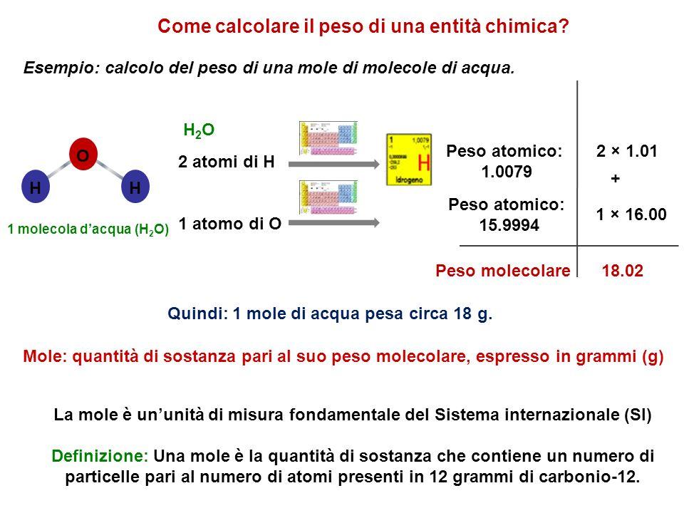 Come calcolare il peso di una entità chimica