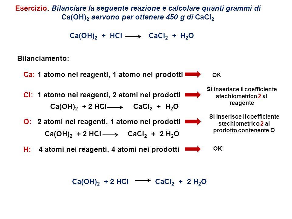 1 atomo nei reagenti, 1 atomo nei prodotti