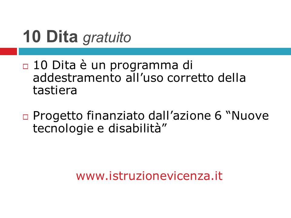 10 Dita gratuito 10 Dita è un programma di addestramento all'uso corretto della tastiera.
