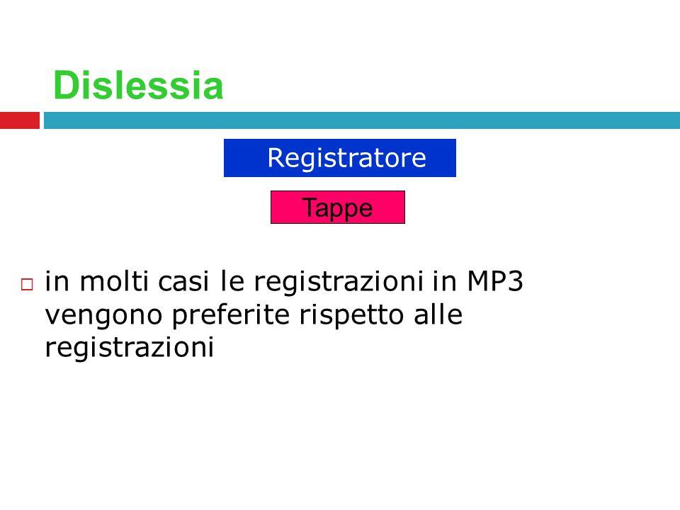 Dislessia Registratore. Tappe.