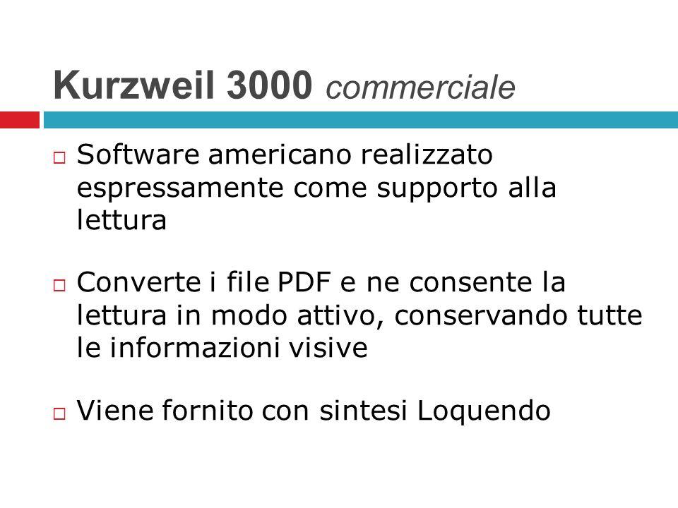 Kurzweil 3000 commerciale Software americano realizzato espressamente come supporto alla lettura.