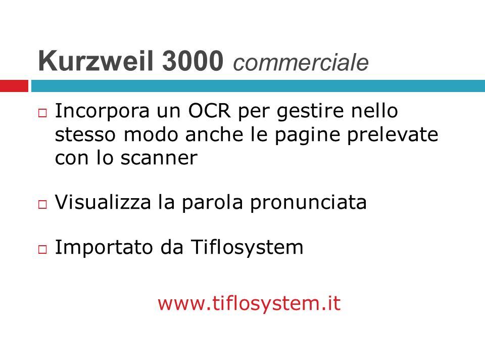 Kurzweil 3000 commerciale Incorpora un OCR per gestire nello stesso modo anche le pagine prelevate con lo scanner.