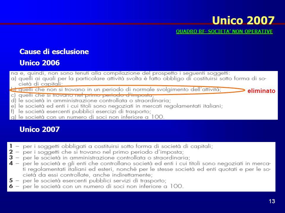 Unico 2007 Cause di esclusione Unico 2006 Unico 2007 eliminato
