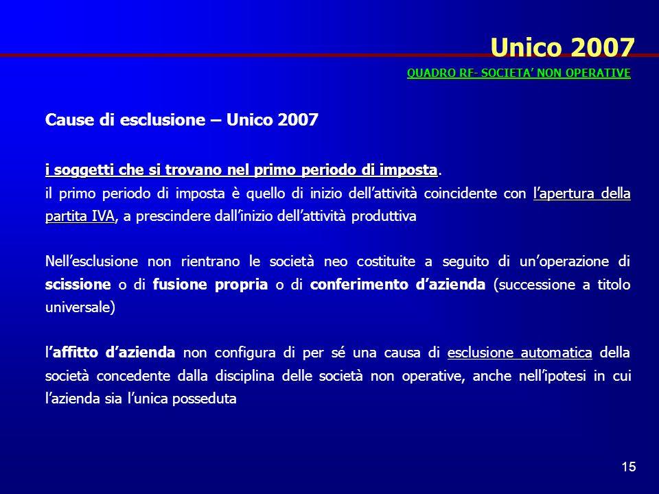 Unico 2007 Cause di esclusione – Unico 2007