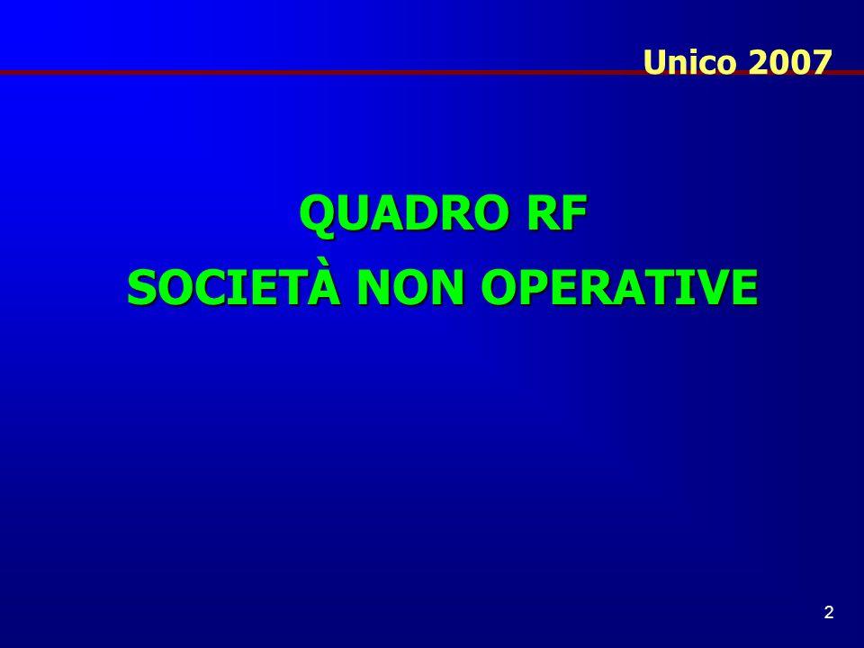 Unico 2007 QUADRO RF SOCIETÀ NON OPERATIVE