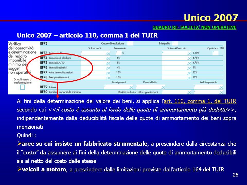 Unico 2007 Unico 2007 – articolo 110, comma 1 del TUIR