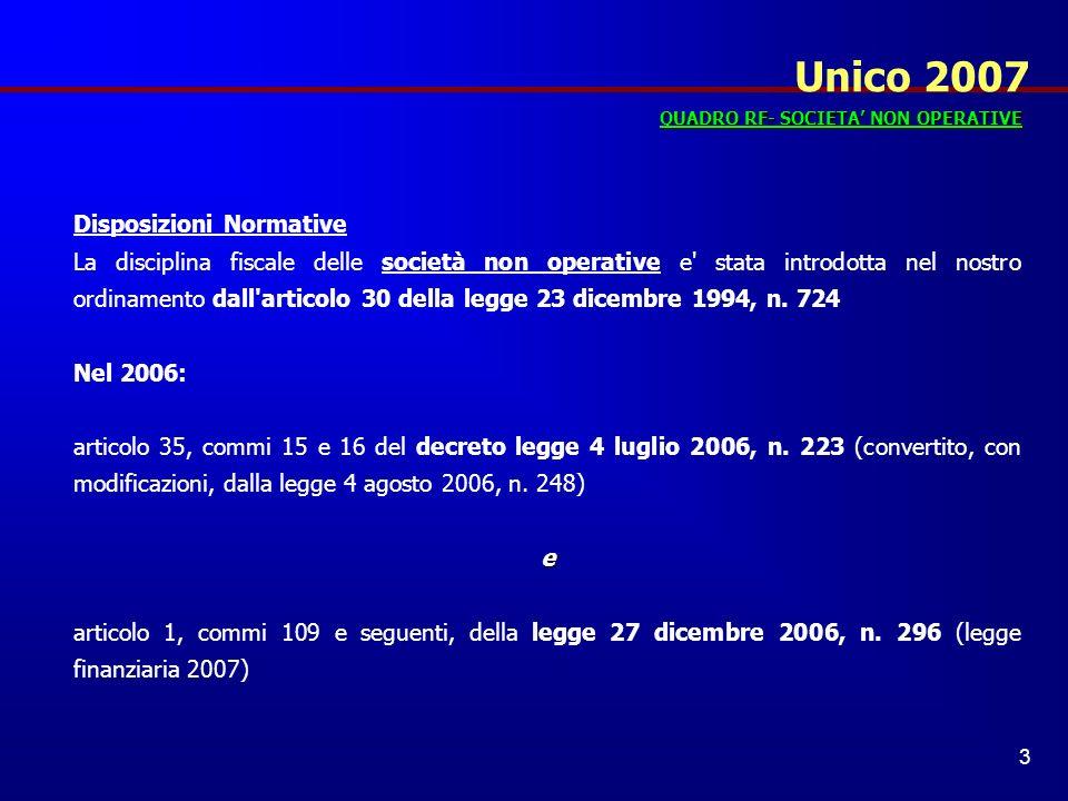 Unico 2007 Disposizioni Normative