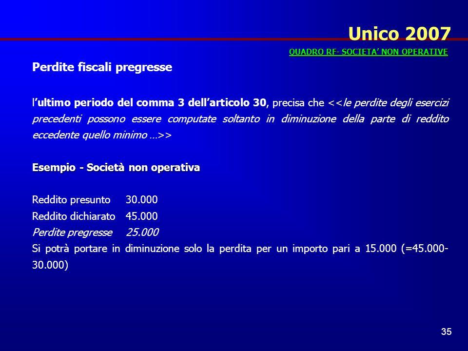 Unico 2007 Perdite fiscali pregresse