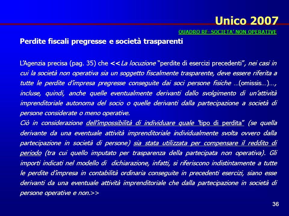 Unico 2007 Perdite fiscali pregresse e società trasparenti
