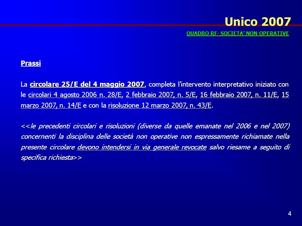 Unico 2007 QUADRO RF- SOCIETA' NON OPERATIVE. Prassi.