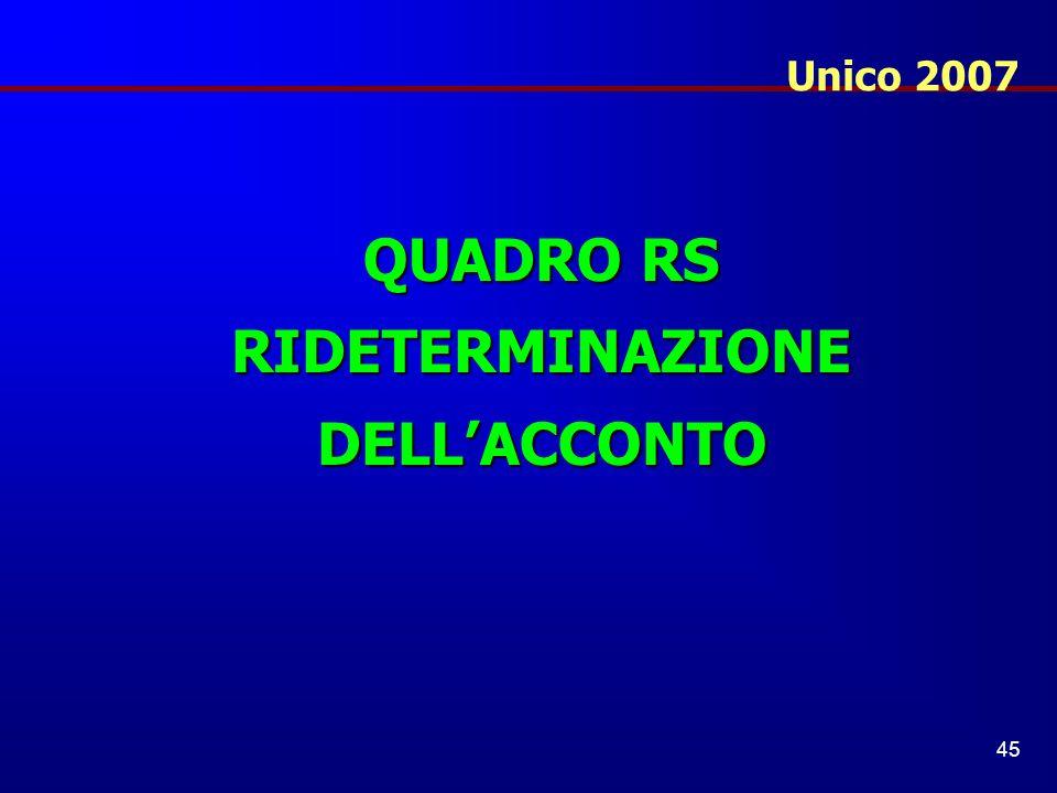 RIDETERMINAZIONE DELL'ACCONTO