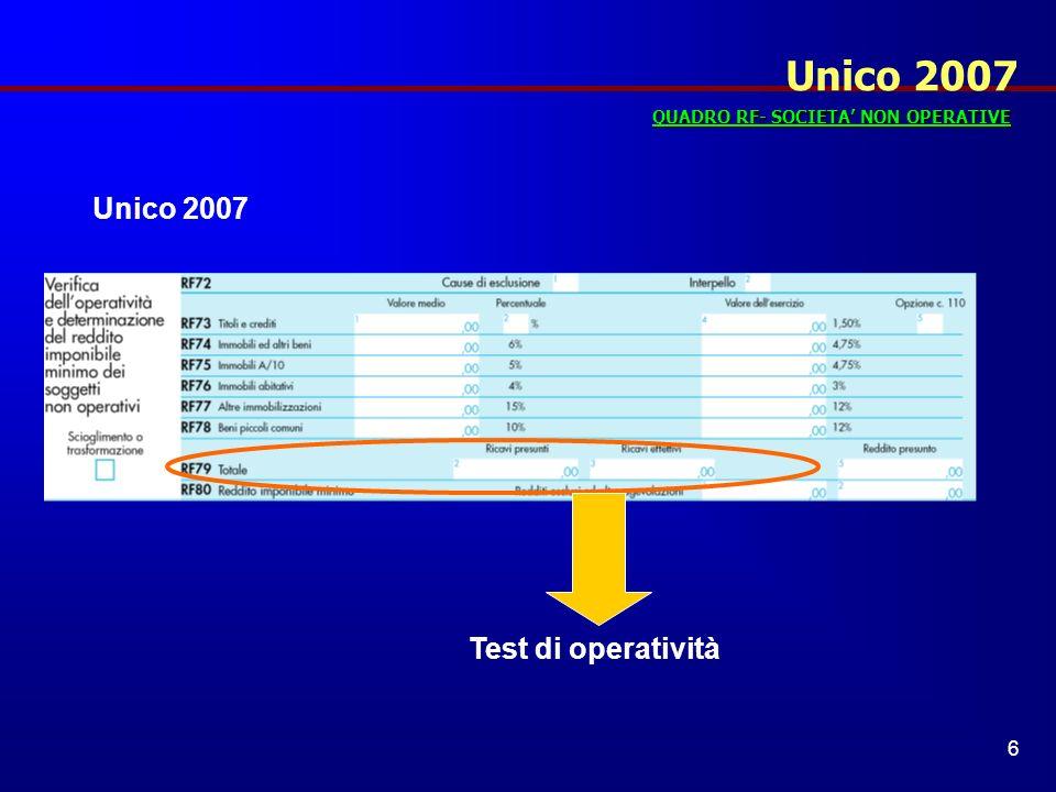 Unico 2007 Unico 2007 Test di operatività