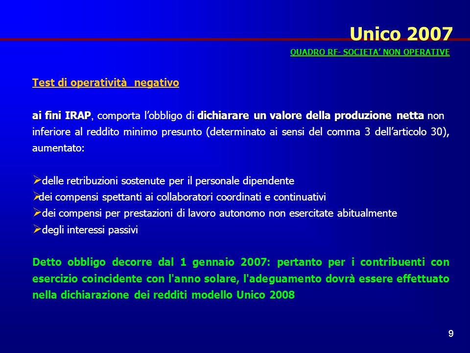 Unico 2007 Test di operatività negativo
