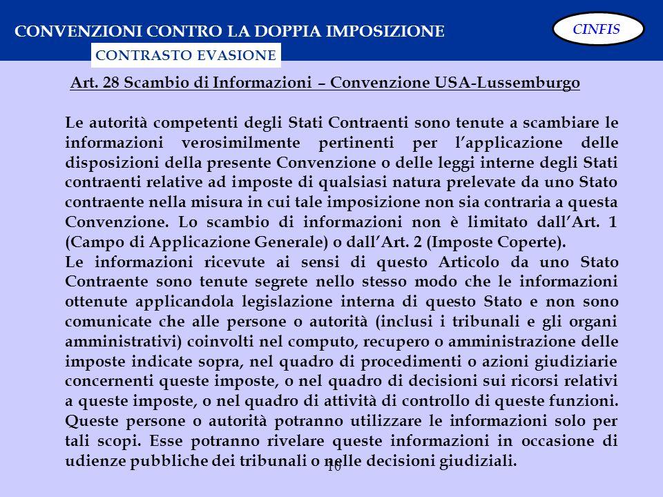 Art. 28 Scambio di Informazioni – Convenzione USA-Lussemburgo