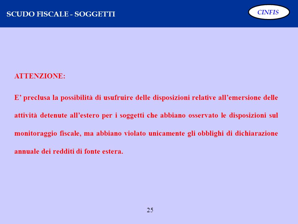 SCUDO FISCALE - SOGGETTI