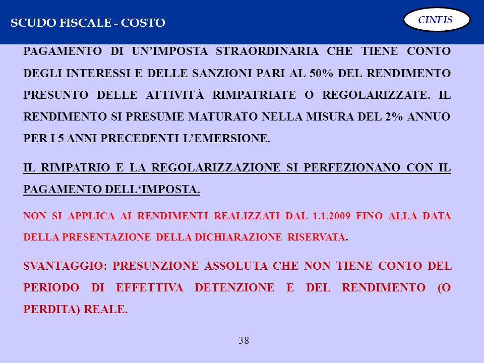 SCUDO FISCALE - COSTO CINFIS.