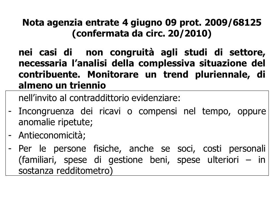 Nota agenzia entrate 4 giugno 09 prot. 2009/68125 (confermata da circ