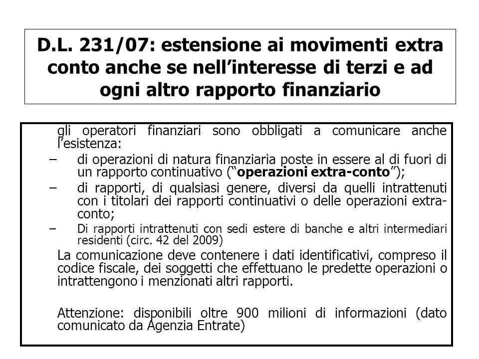 D.L. 231/07: estensione ai movimenti extra conto anche se nell'interesse di terzi e ad ogni altro rapporto finanziario