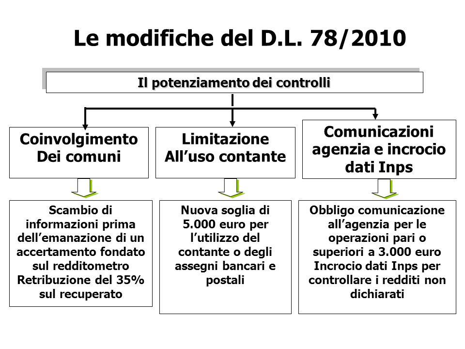 Le modifiche del D.L. 78/2010 Il potenziamento dei controlli. Comunicazioni agenzia e incrocio dati Inps.