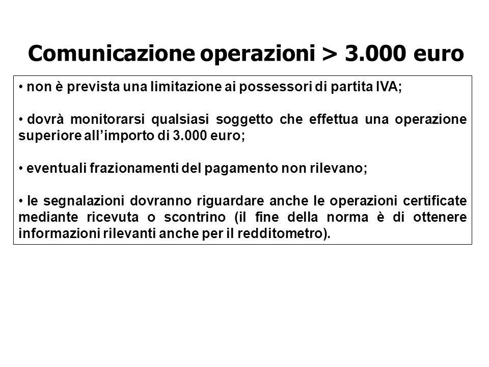 Comunicazione operazioni > 3.000 euro