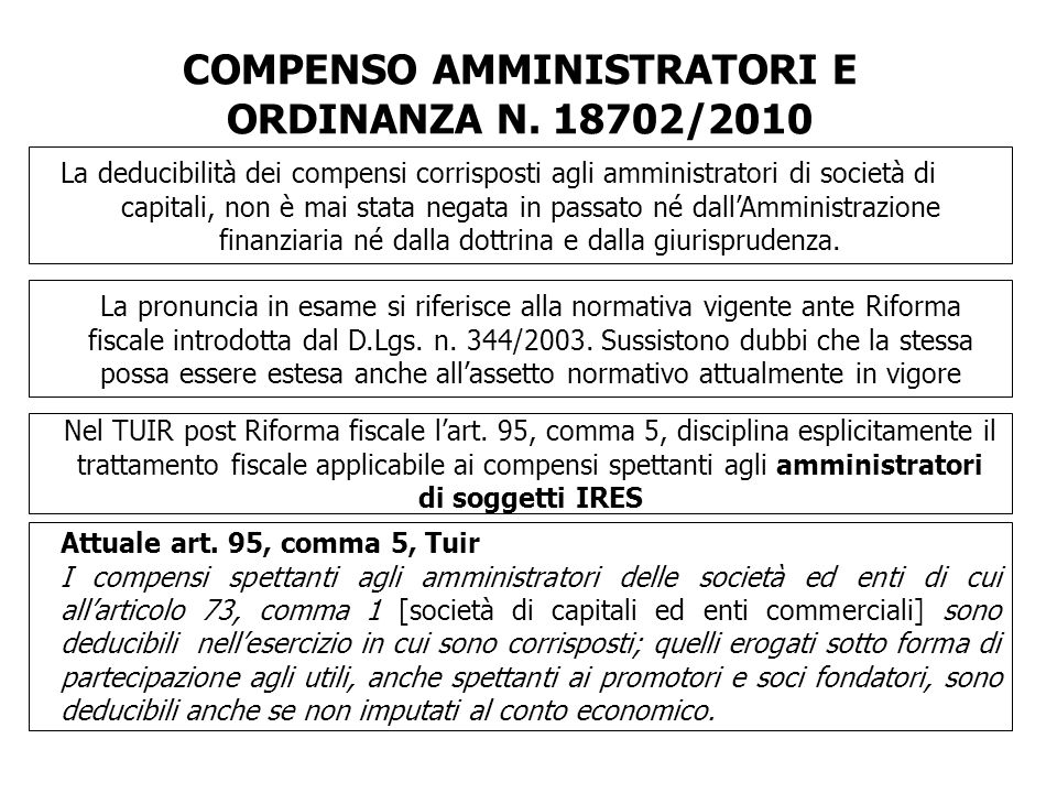 COMPENSO AMMINISTRATORI E ORDINANZA N. 18702/2010