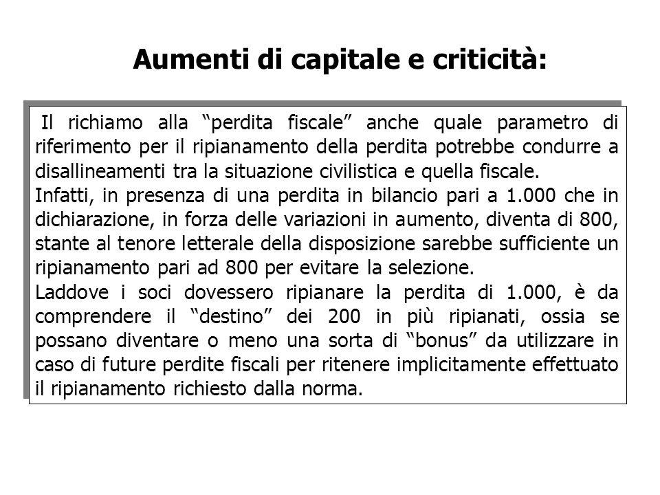 Aumenti di capitale e criticità: