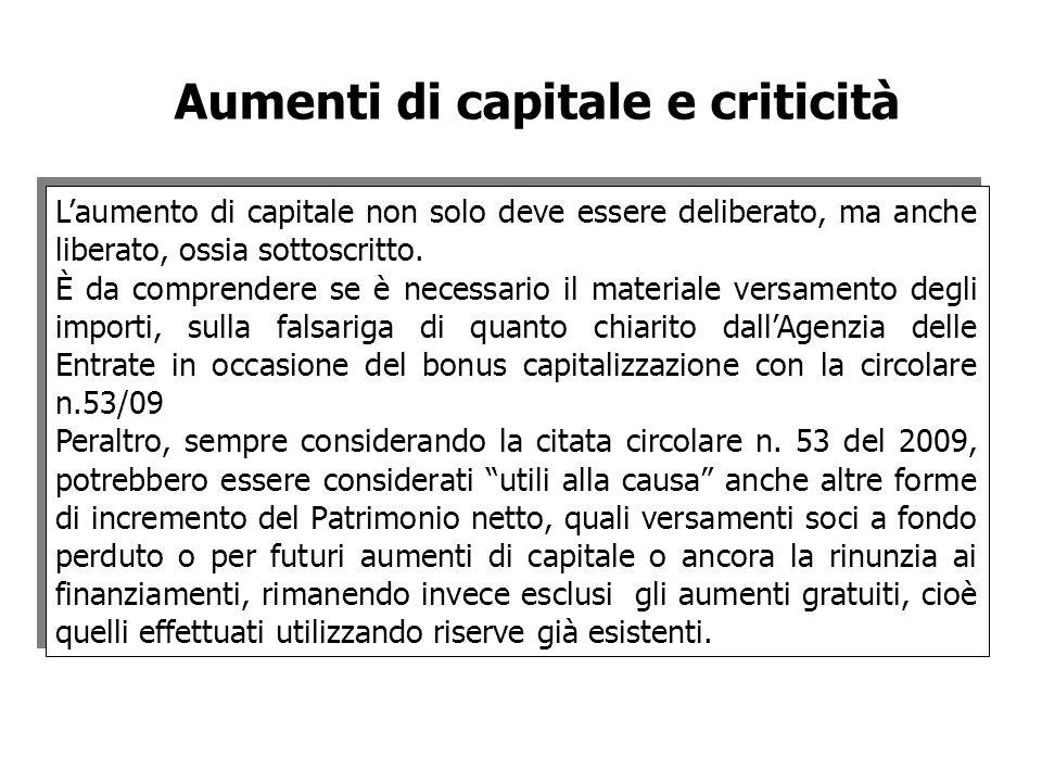 Aumenti di capitale e criticità