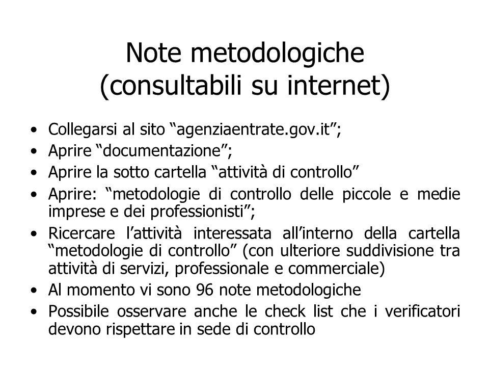 Note metodologiche (consultabili su internet)