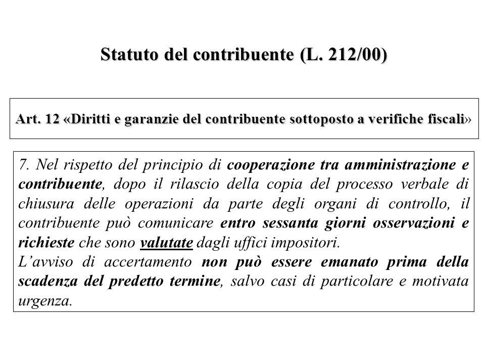Statuto del contribuente (L. 212/00)