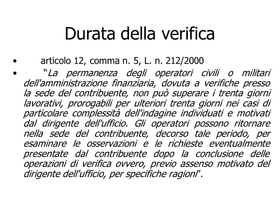 Durata della verifica articolo 12, comma n. 5, L. n. 212/2000