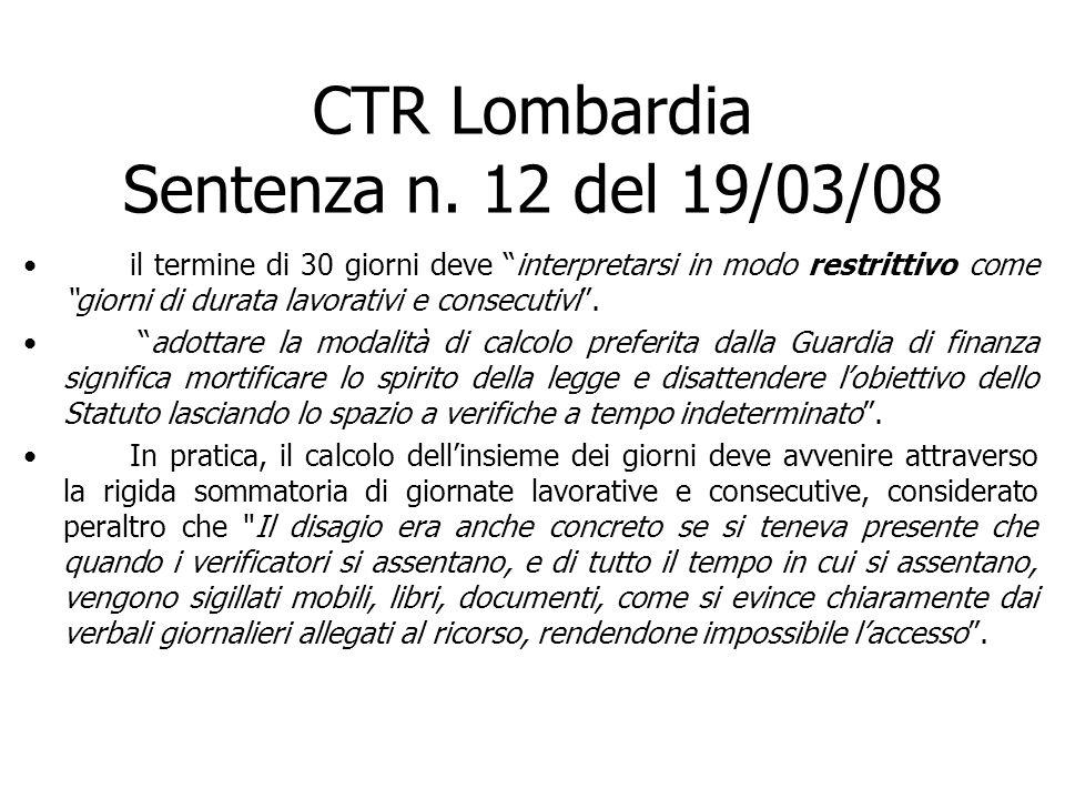 CTR Lombardia Sentenza n. 12 del 19/03/08
