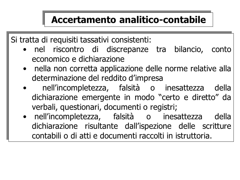 Accertamento analitico-contabile
