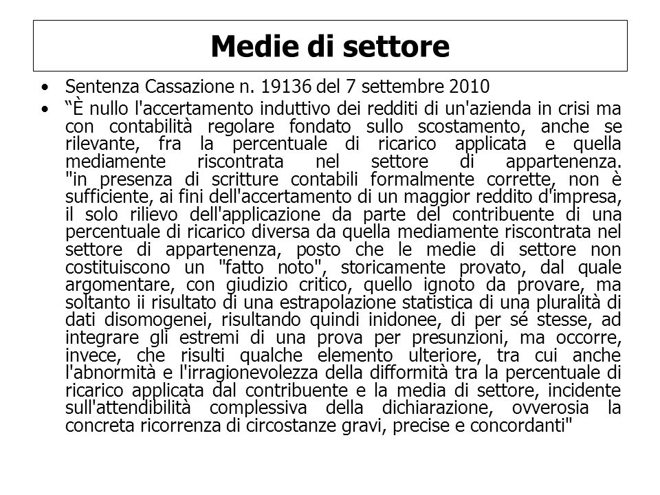 Medie di settore Sentenza Cassazione n. 19136 del 7 settembre 2010