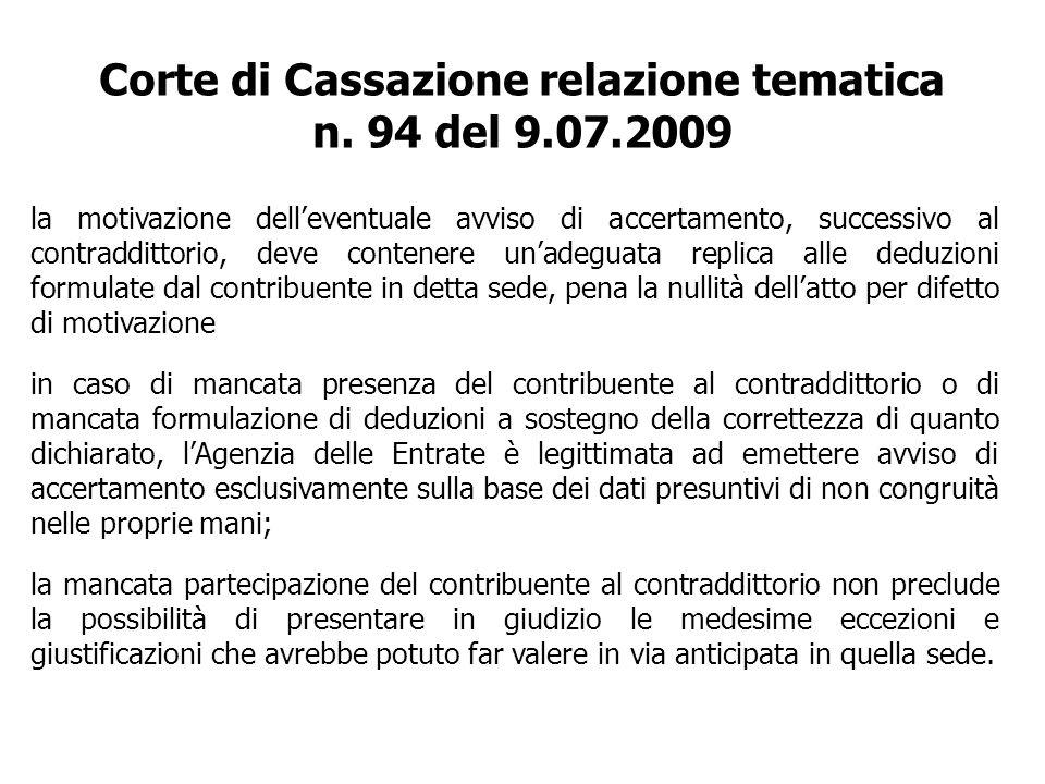 Corte di Cassazione relazione tematica n. 94 del 9.07.2009