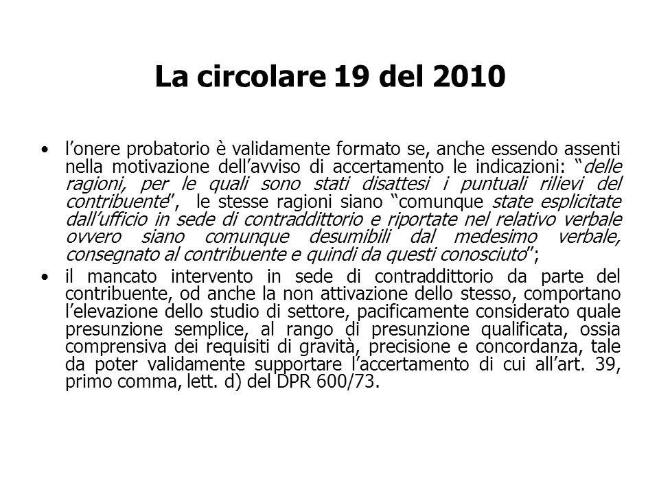 La circolare 19 del 2010