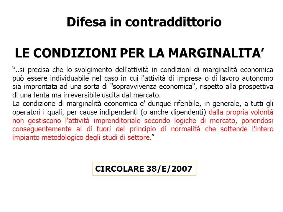 Difesa in contraddittorio LE CONDIZIONI PER LA MARGINALITA'