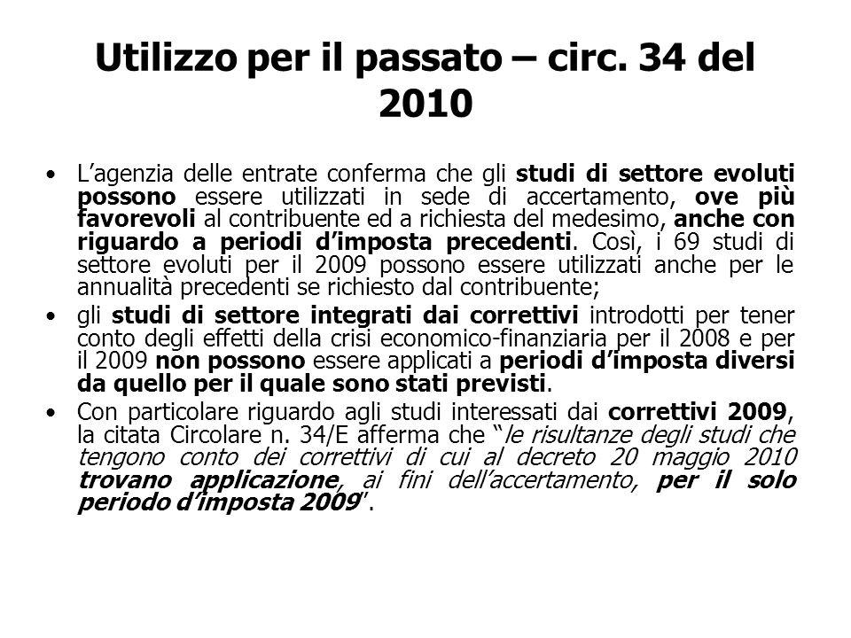 Utilizzo per il passato – circ. 34 del 2010