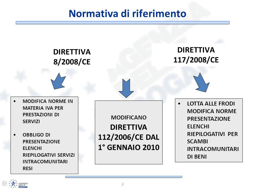 Normativa di riferimento DIRETTIVA 112/2006/CE DAL 1° GENNAIO 2010