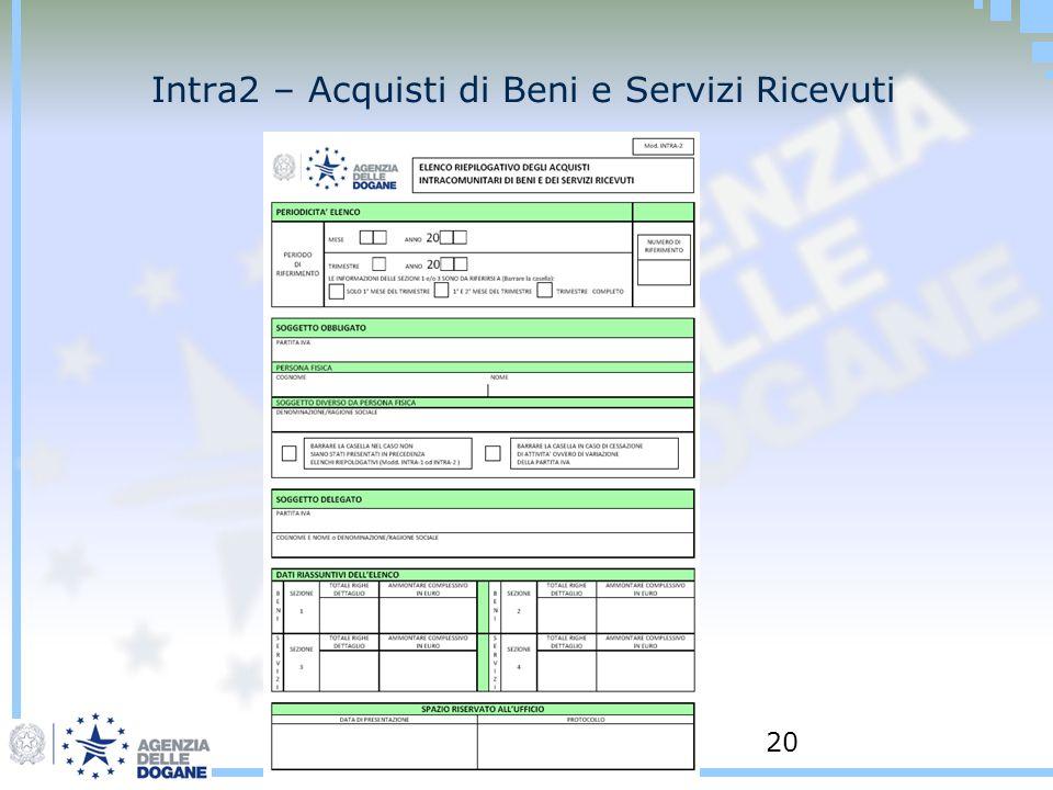 Intra2 – Acquisti di Beni e Servizi Ricevuti