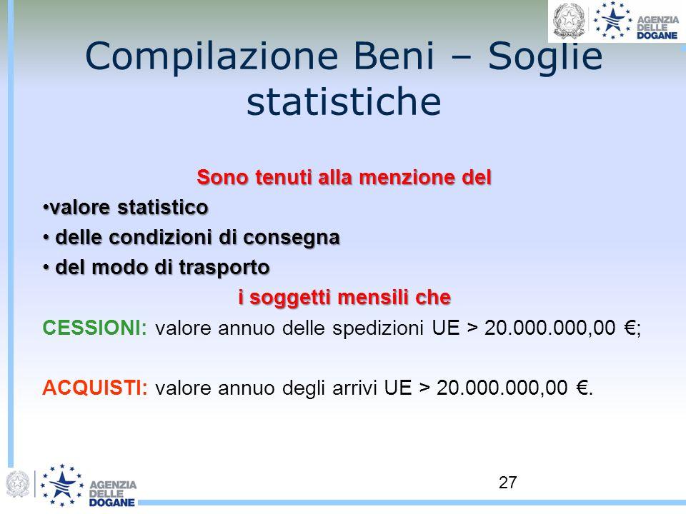Compilazione Beni – Soglie statistiche