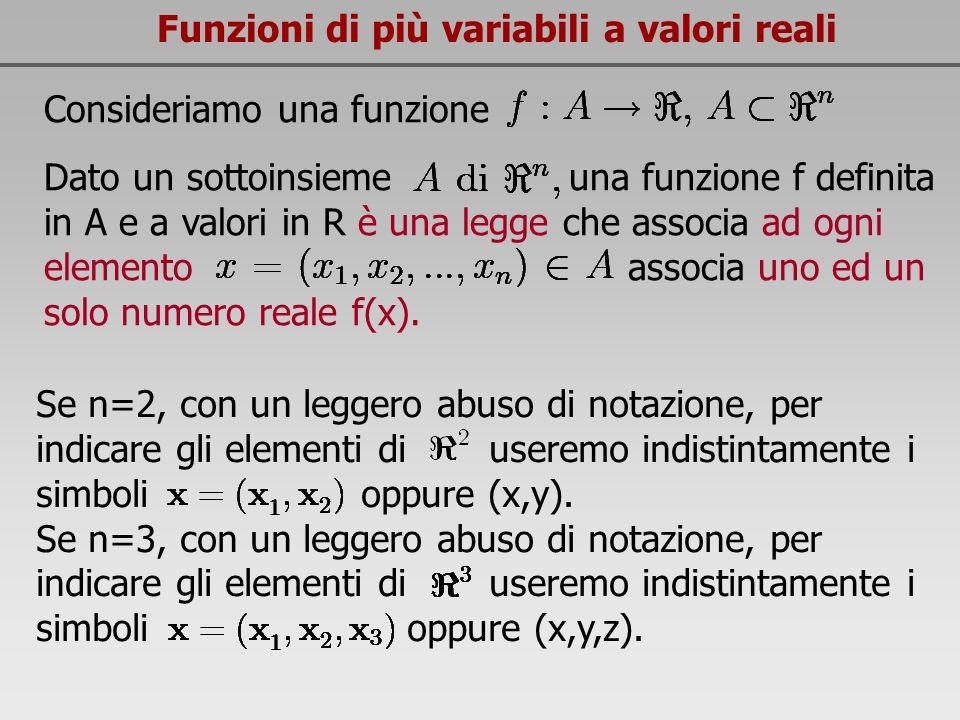 Funzioni di più variabili a valori reali