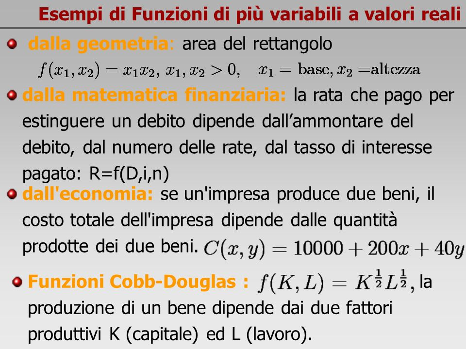 Esempi di Funzioni di più variabili a valori reali